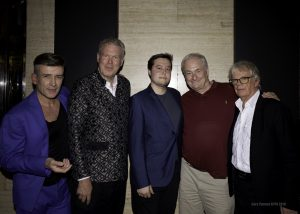 (l-r) Quiet Storm aka Dean Aslett, Andrew Eborn, RJ Gibb, Paul Gambaccini, Blue Weaver at The Bloomsbury Ballroom. Photo Gary Thomas Kypa